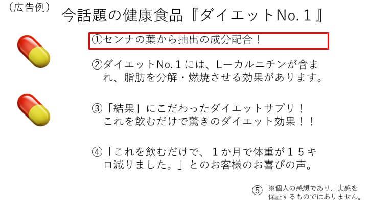 広告例①センナの葉から抽出の成分配合!